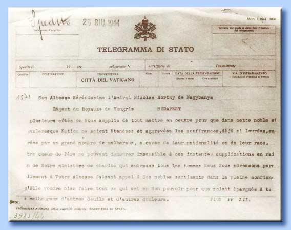 telegramma di pio XII a horthy