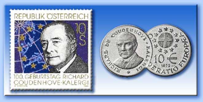 francobolli e monete per kalergi